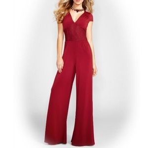 Guess Burgundy Red Corset Lace Jumpsuit - Small